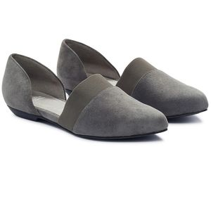 eileen fisher d'orsay suede flute flat graphite